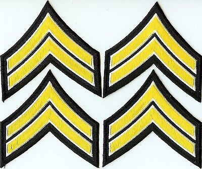 New 4 Corporal Embroidered Chevron Stripes Yellow White Black Police Patch