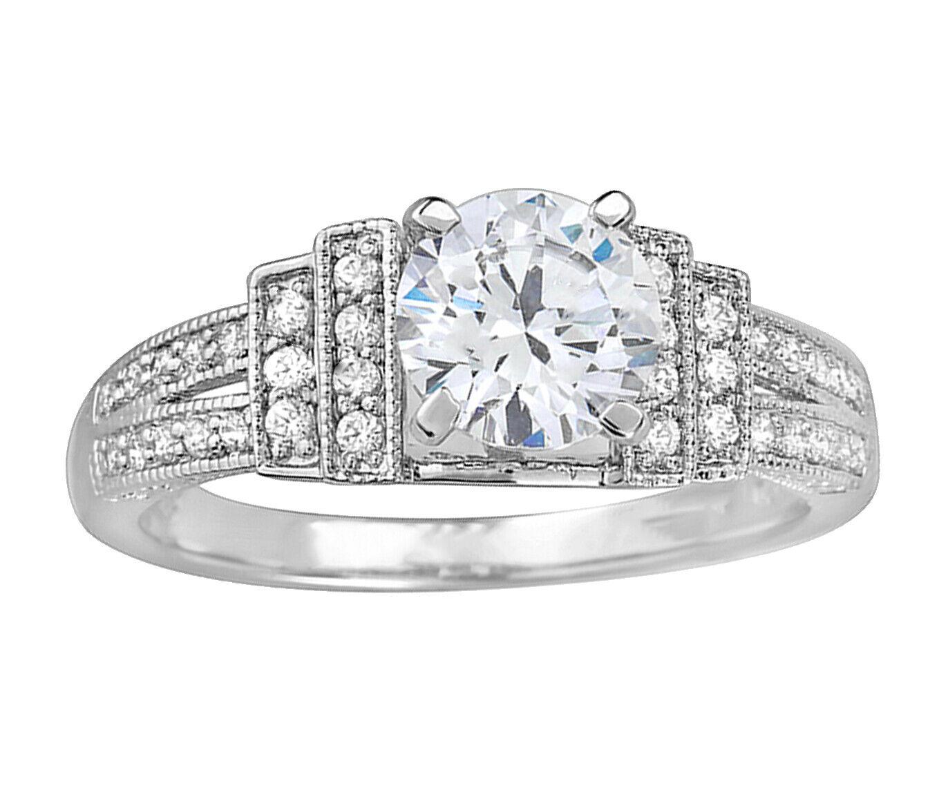 Real GIA Certified Round Diamond Engagement Ring 14k White Gold 1.67 Carat total