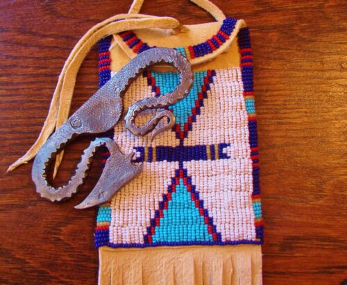 STRIKE-A-LIGHT WITH FULLY BEADED BAG HANG AROUND NECK OR TIED TO YOUR BELT