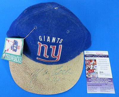 YA TITTLE SIGNED NY GIANTS FOOTBALL CAP / HAT ~ JSA R36861 ~ Light Autograph ~
