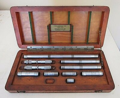 10 Pcs Inside Micrometers Set By Swedish Gage Co. In Wood Box Tree Tool Ge