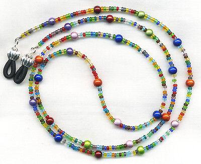 Multi-Color Beaded Eyeglass~Glasses Holder Leash Necklace Chain CUSTOM LENGTH