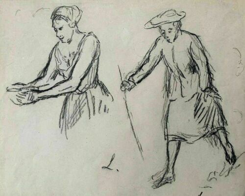 """MAXIMILIEN LUCE (1853-1941"""" FIGURES SKETCHES"""" ORIGINAL CHARCOAL SIGNED DRAWING."""