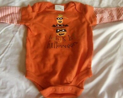 BABY'S FIRST HALLOWEEN Bodysuit Outfit BABYS FIRST Pumpkins NEW Size 6-9 months