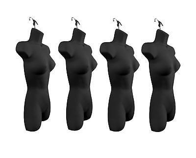 New Female Dress Mannequin Form Hard Plastic Black With Hook For Hanging 4pk