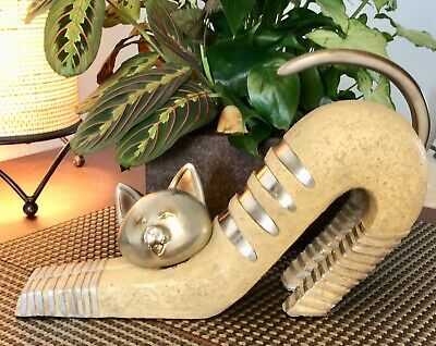 Cat Figurine In Downward Dog Yoga Pose Stretching Silver And Stonelike ()