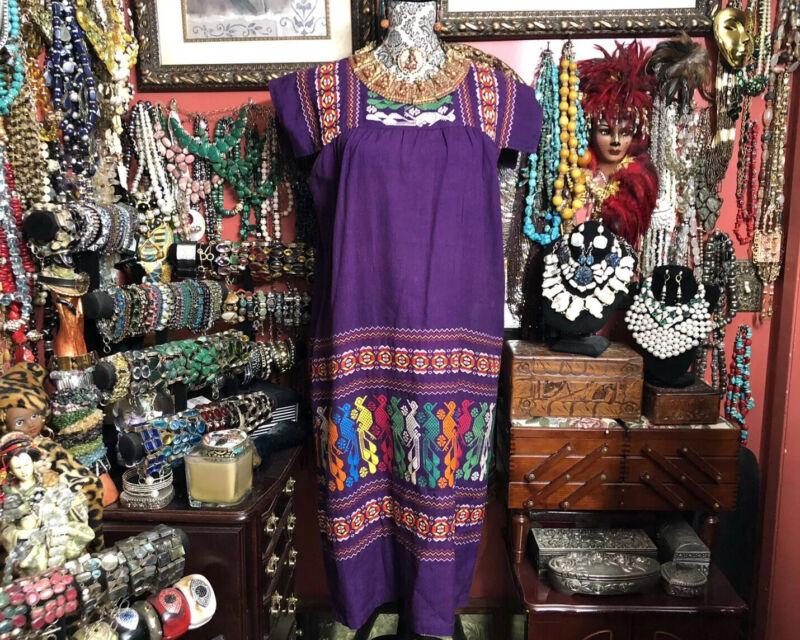 Beautiful Purple/Multi-Color Woven Embroidered Huipil Dress Oaxaca Mexico