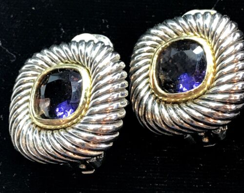 ERWIN PEARL style, Earrings, Clip On Amethyst Glass Gold & Silver Tone