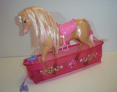 BARBIE Shower & Show Horse TAWNY Playset Tub Color Change Mane Pink World