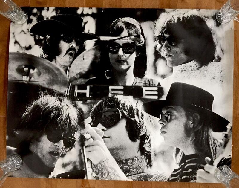 Rare1969 Jefferson Airplane Montage Poster Black & White 30x39 True Vintage HTF