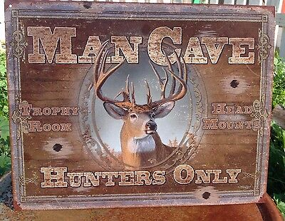 MAN CAVE HUNTERS ONLY Tin Sign Wall Bar Garage Decor Classic Vintage