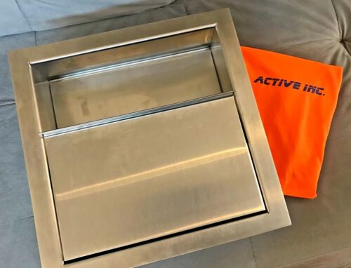 """Drop-In Deal Tray with sliding lid, Brushed Finish, 14"""" (w) x 14"""" (d) stainless"""