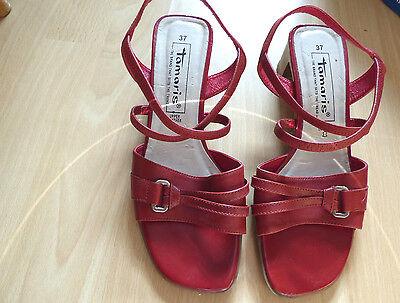 2 Paar Schuhe Tamaris + SMH Shoes, Sandaletten in Rot + Peep Toe in Braun,Gr.37
