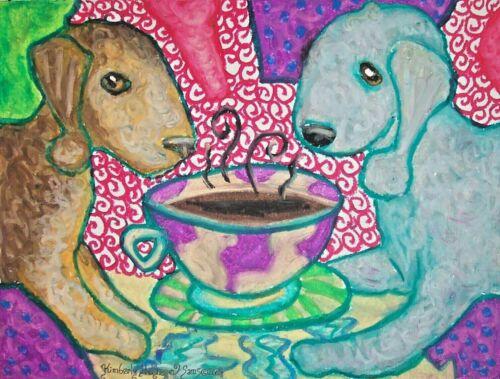 BEDLINGTON TERRIER Drinking Coffee 5 x 7 Dog Art Print Signed by Artist KSAMS