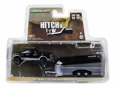 GREENLIGHT 1/64 2017 Dodge Ram 2500 & Aerovault Trailer Garage Hitch & Tow New