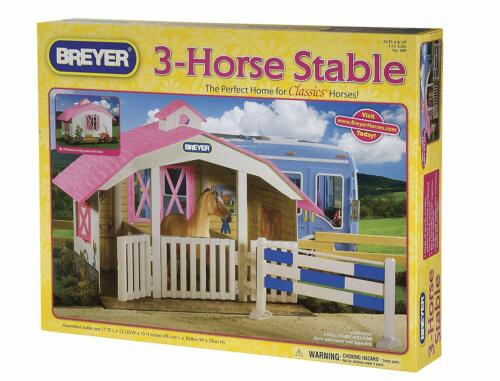 BREYER 3 HORSE STABLE - BARN - FOR CLASSICS HORSES - PINK & BLUE - W/ JUMP
