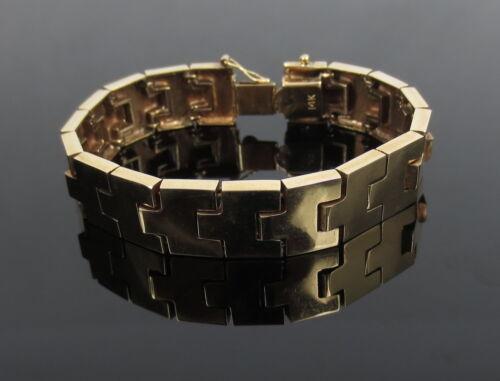 "Vintage 14k Yellow Gold Wide 6"" Long 12mm Wide Link Tennis Bracelet 23.3 Grams"