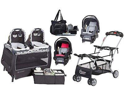Baby Girl Boy Twins Nursery Center Dobbelt klapvognramme 2 bilsæder Blepose
