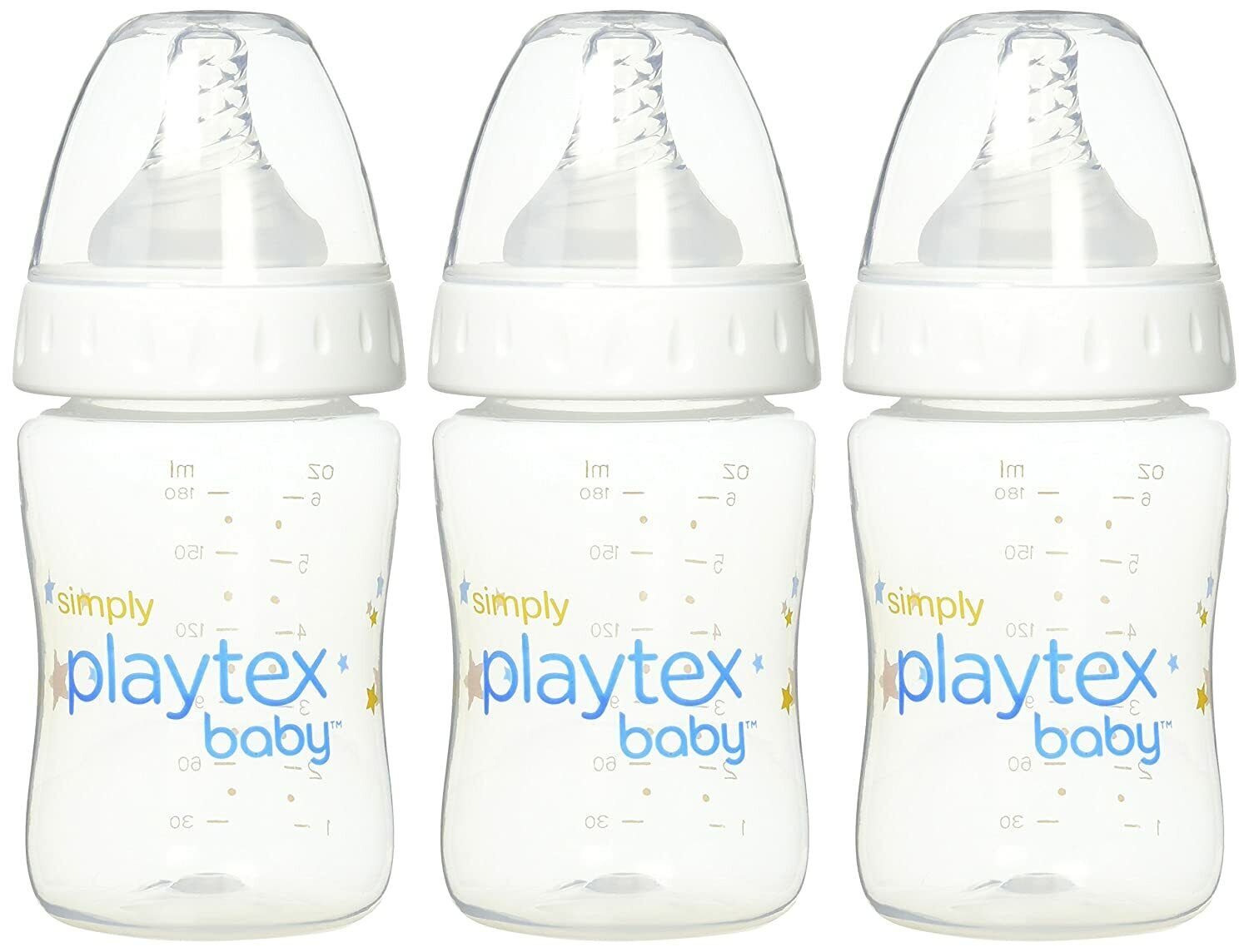 Simply Playtex BPA-Free Baby Bottles, 6 Ounce - 3 Pack