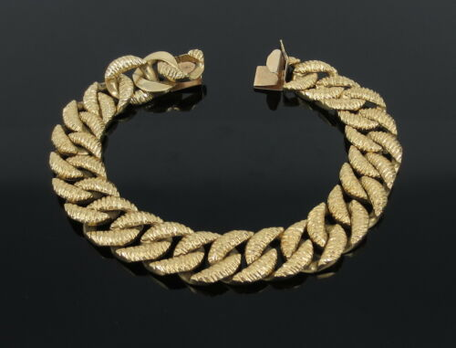 Vintage 14k Yellow Gold 13mm Wide Link Carved Cuban Link Bracelet 67gr