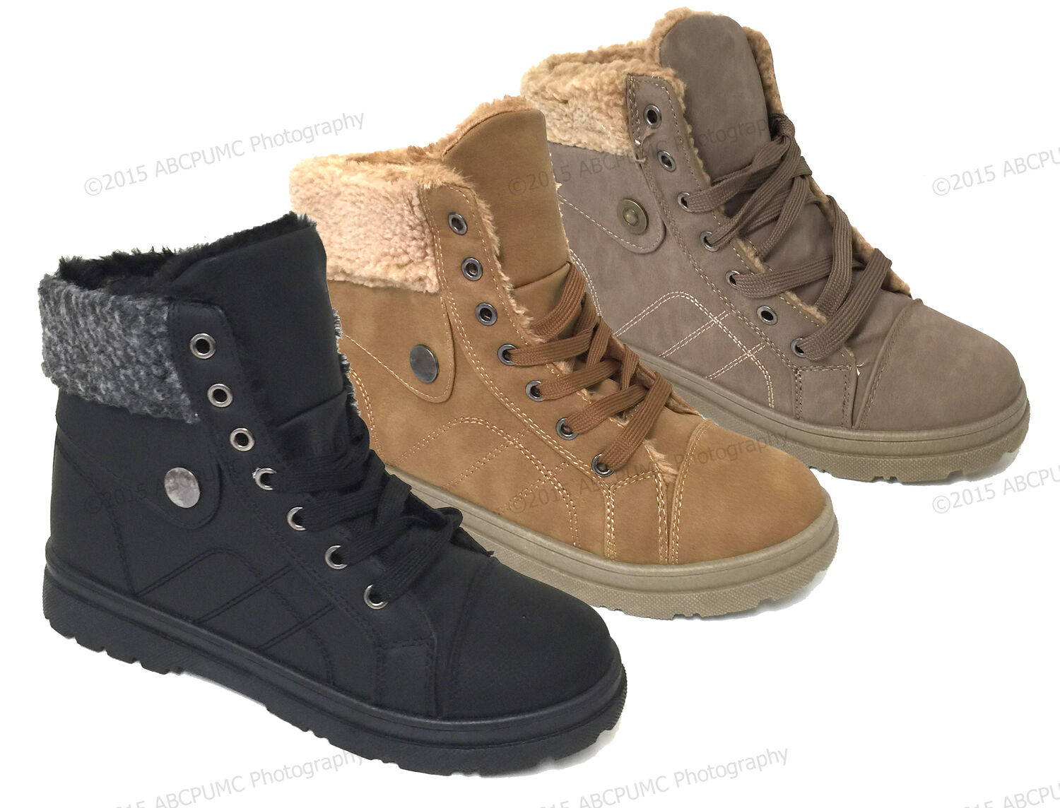 Boots - Women's Sneaker Boots Winter High Top Lace up Fur Combat Warm Snow Shoes Sizes