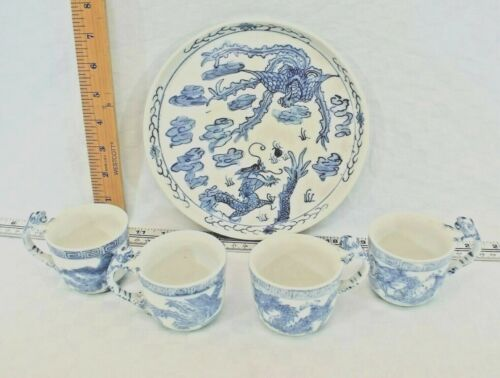 Vtg. 4 Chinese Chen Dynasty Blue & White Dragon Handle Porcelain Cups on plate
