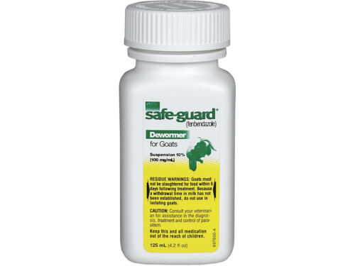 SAFEGUARD FOR GOATS Suspension 100mg Fenbendazole Dewormer Low Dose 125 mL