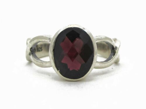 Victorian Sterling Silver Oval Cut Natural 2ct Garnet Ring 3.8g Size-6