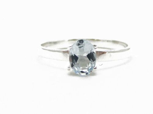 Victorian Sterling Silver Oval Cut Natural .75ct Aquamarine Ring 1.6g Size-7