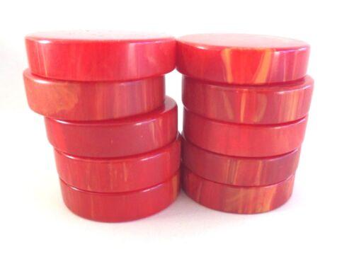 Antique American Marbleized RED Catalin Bakelite 10 Disc 35 mm diameter 158 gram