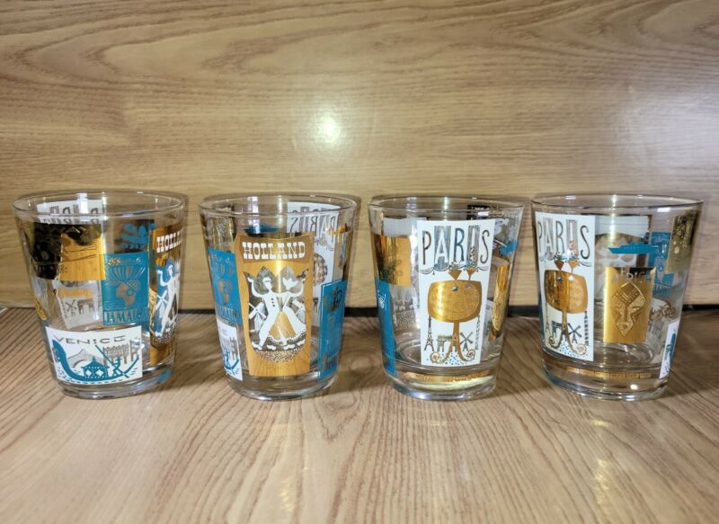 Vintage Set 4 MCM Libbey International Cities Of The World 12oz Cocktail Glasses