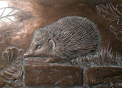 Hedgehog wall sculpture, cold cast bronze hedgehog plaque, garden ornament