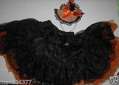 Halloween child black Orange Witch Costume pettiskirt and hat size 6-9 girls - Black And Orange Witch Costume