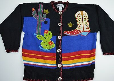 Cardigan Sweater Boot (Western Large Cardigan Sweater Cowboy Boot Star Beads Cactus Black Knit Rodeo )