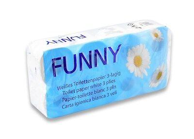 Funny Toilettenpapier AG-014, 3-lagig, hochweiß, 9 x 8 Stück je 250 Blatt