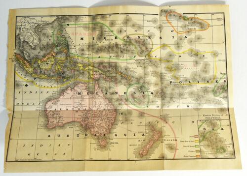 """1895 Australia Melanesia 15"""" Map Antique ORIGINAL Polynesia Micronesia"""