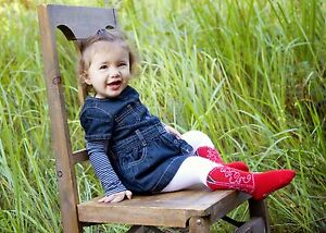 INFANT-TODDLER-NEW-BOOTZIES-RED-COWBOY-BOOT-TIGHTS-TOO-CUTE-SIZE-6-18-MOS