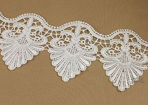 2 Yards Polyester Off White Flower Venice Lace Applique Sewing Trims Craft