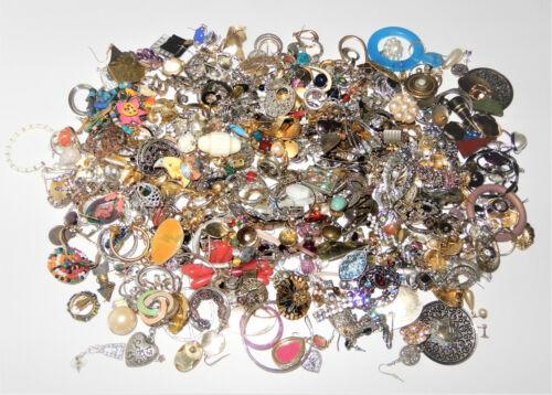 Vintage Jewelry Huge Lot 4 Lbs Single Earrings Rhinestone Clip Pierced