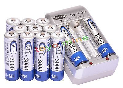 12x AA 2A 3000mAh 1.2 V Ni-MH BTY Rechargeable Battery Cell+ AA Battery Charger on Rummage
