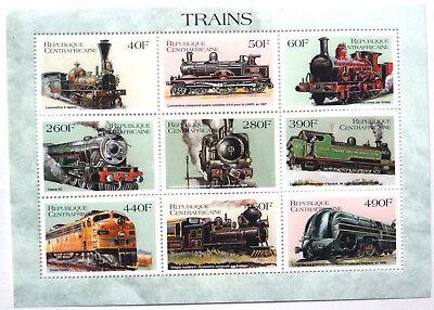 Trains, Central African Republic UMM Sheet Of 9 Locomotives, Railway Thematics .