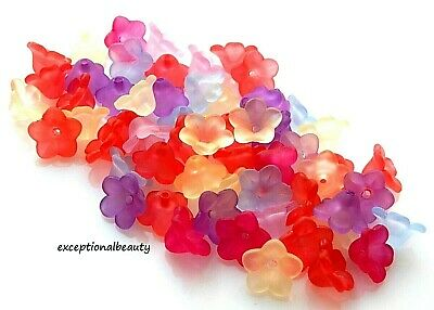 100 Assorted 11x7mm Frosted Lucite Scalloped Tulip Cone Flower Mix Craft Beads - Lucite Flower Bead Mix