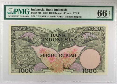Indonesia 1959... P-71b... PMG Gem UNC 66 EPQ 1000 Rupiah