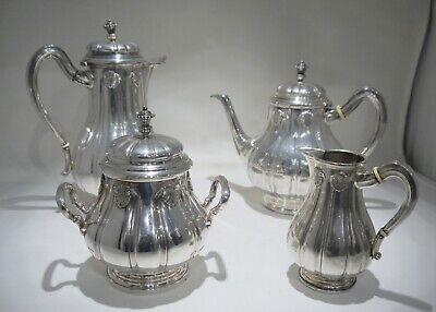 Service à thé et café 4 pièces argent massif 800 Wolfers Belgique Bruxelles