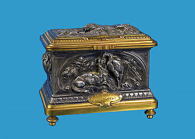 Louis Théophile Hingre (1832-1911) Schmuck-Schatulle Bronze versilbert+vergoldet
