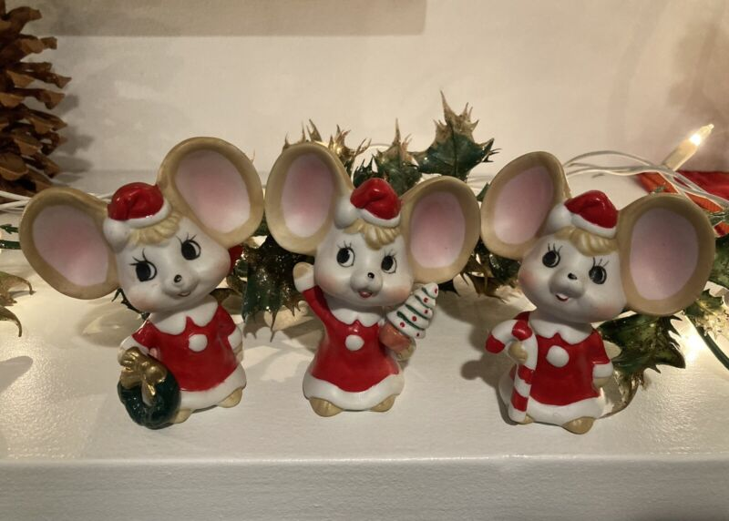 Vintage Price Products Hand-painted Christmas Mice Figurines - Trio