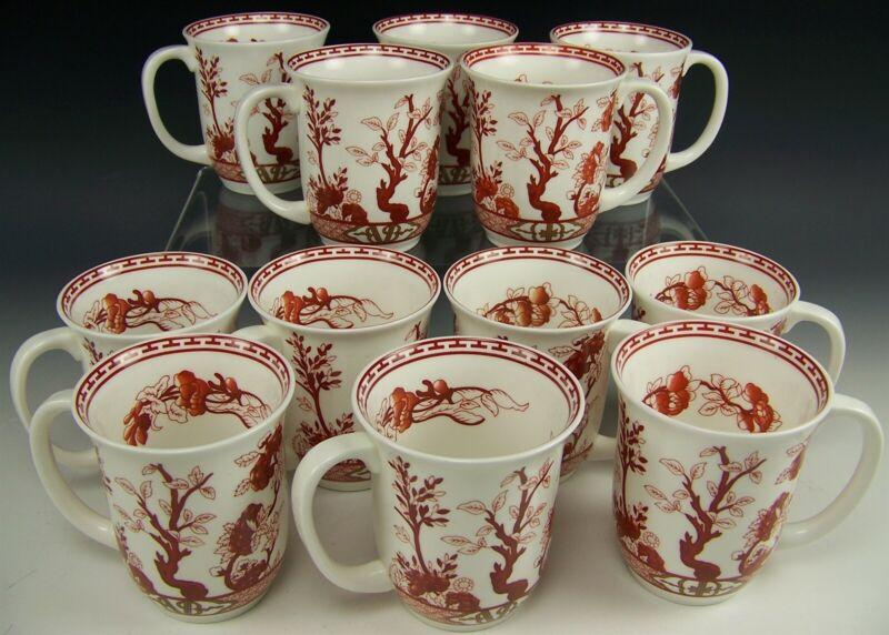 COALPORT INDIAN TREE CORAL COFFEE TEA BEVERAGE MUGS SET OF 12
