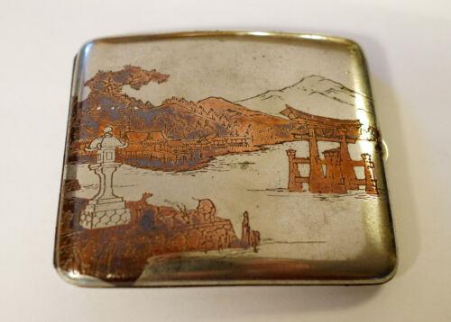 Vintage Japanese  Etched Sterling Silver Cigarette Case