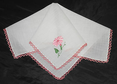 vintage handkerchief EMBROIDERY AND CROCHET morning glory UNUSED HANKY charming