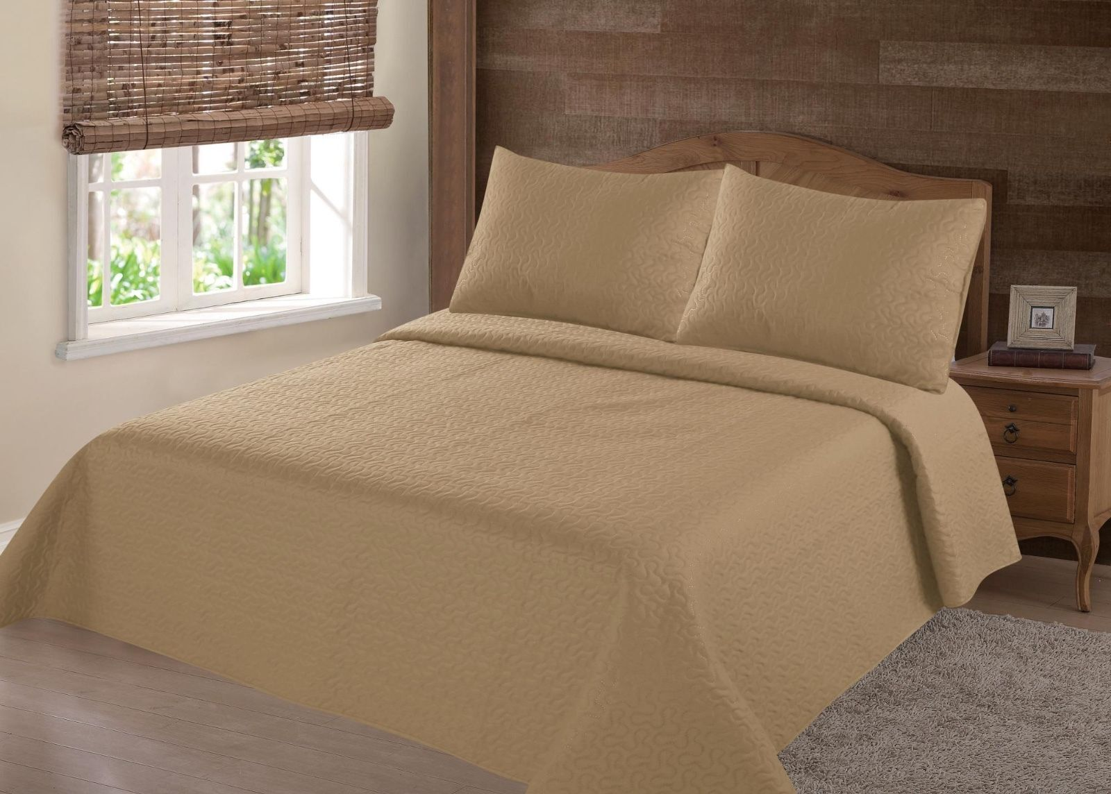MIDWEST GOLD NENA SOLID QUILT BEDDING BEDSPREAD COVERLET PIL